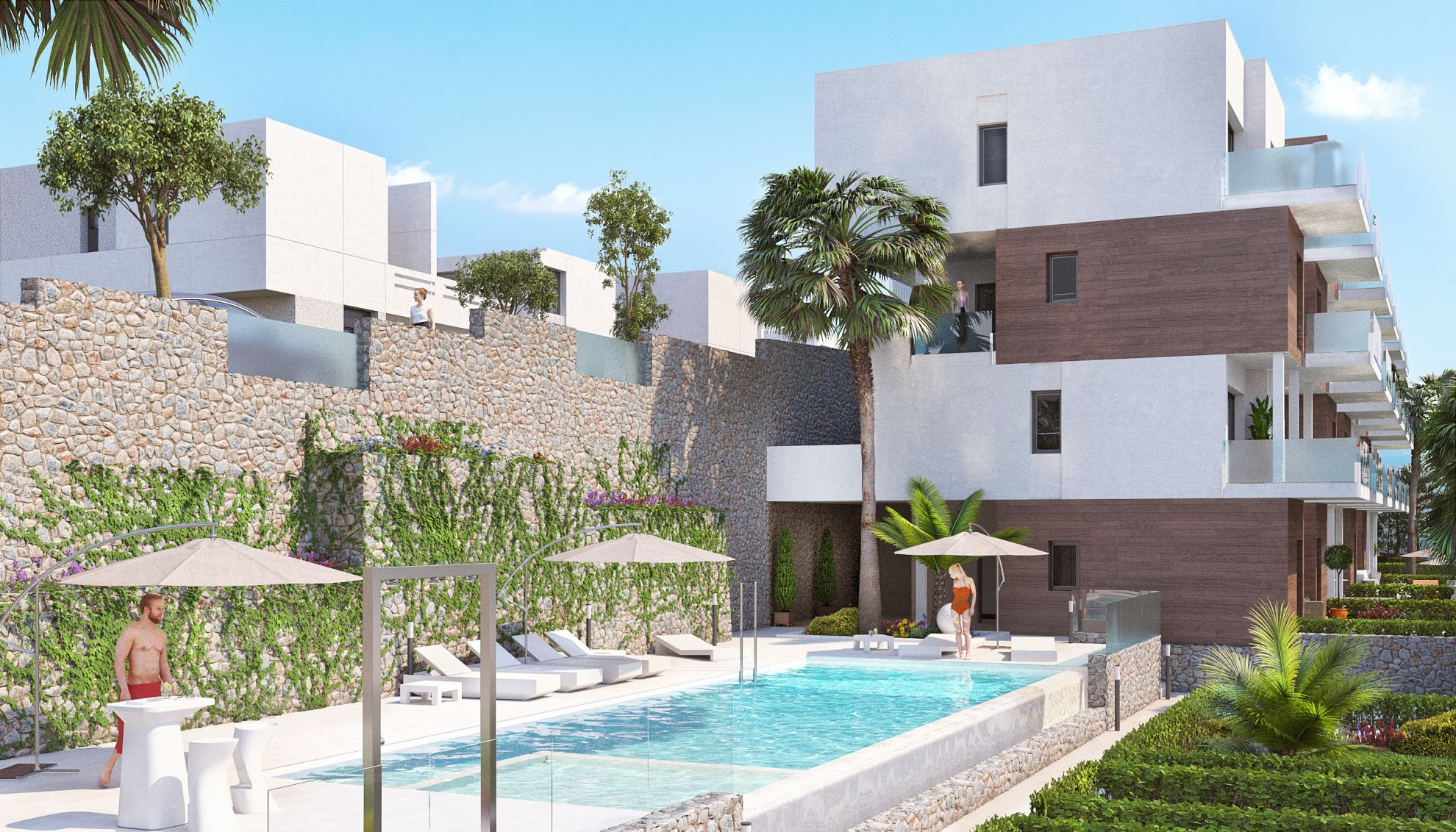 Apartments with 3 rooms and 2 bathrooms, garden and private pool, located in La Finca Golf. 2