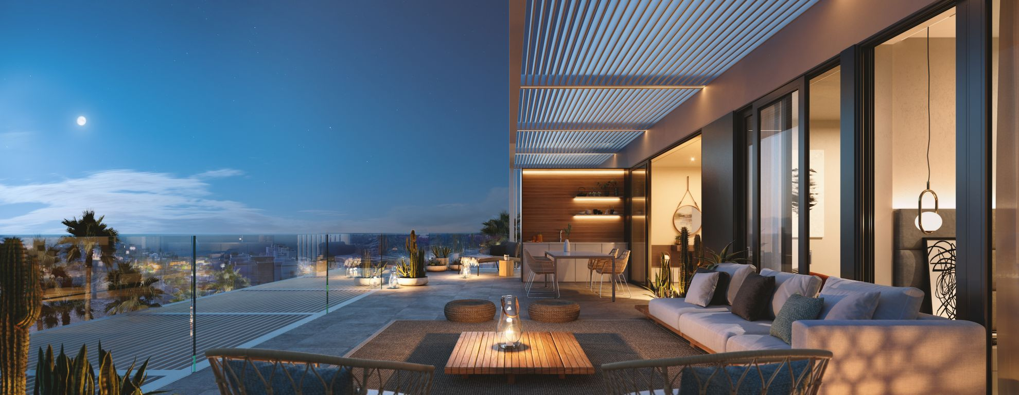 2 and 3 bedroom penthouse-style apartments with big terraces overlookg the sea. House 11 12