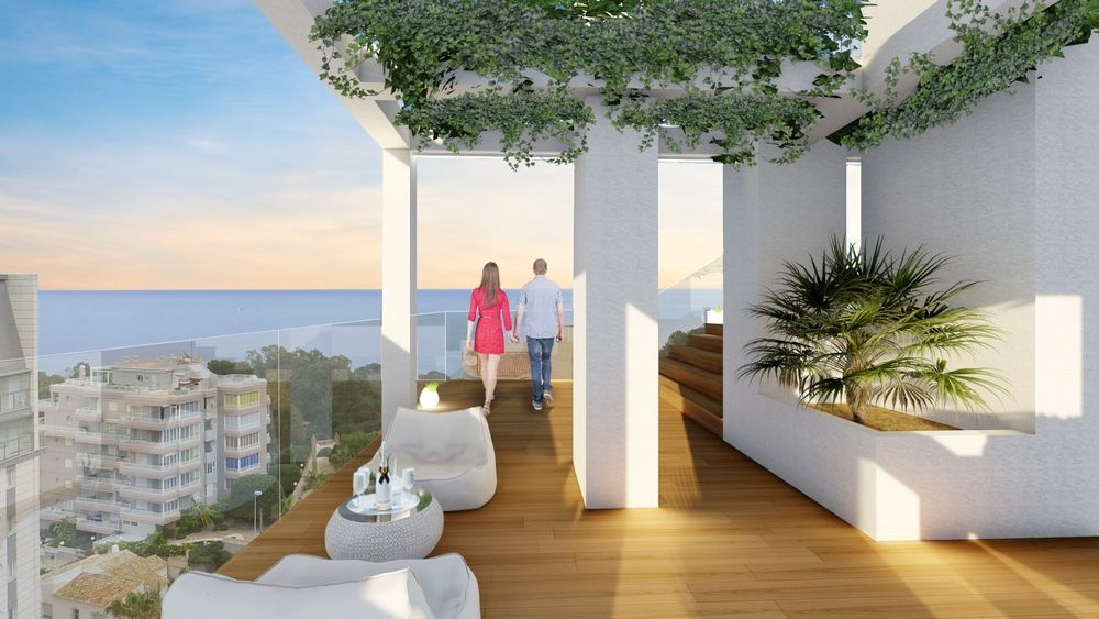 Large terrace in apartment with sea views, Calpe. Buy house Sonneil.