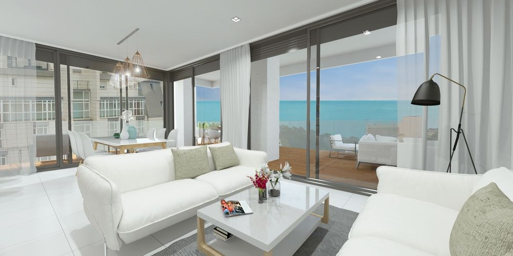 Large living room with exit to the terrace and sea views in Calpe. Buy house Sonneil.