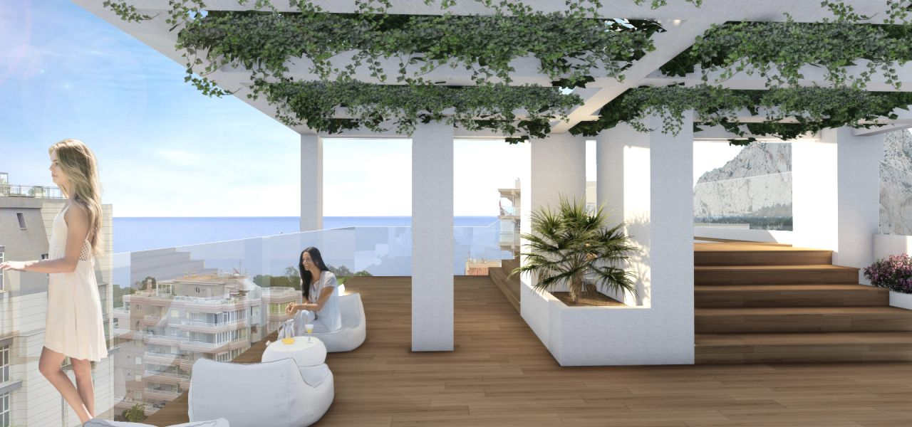 Terrace, complex in Calpe. Buy house Sonneil.