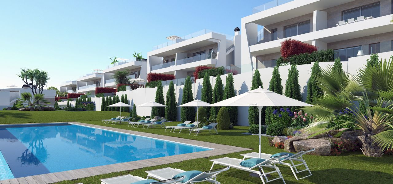 Bungalows with 2 rooms and 2 bathrooms, terrace or solarium, in urbanization with swimming pool. 1