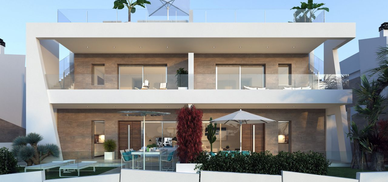 Bungalows with 2 rooms and 2 bathrooms, terrace or solarium, in urbanization with swimming pool. 2