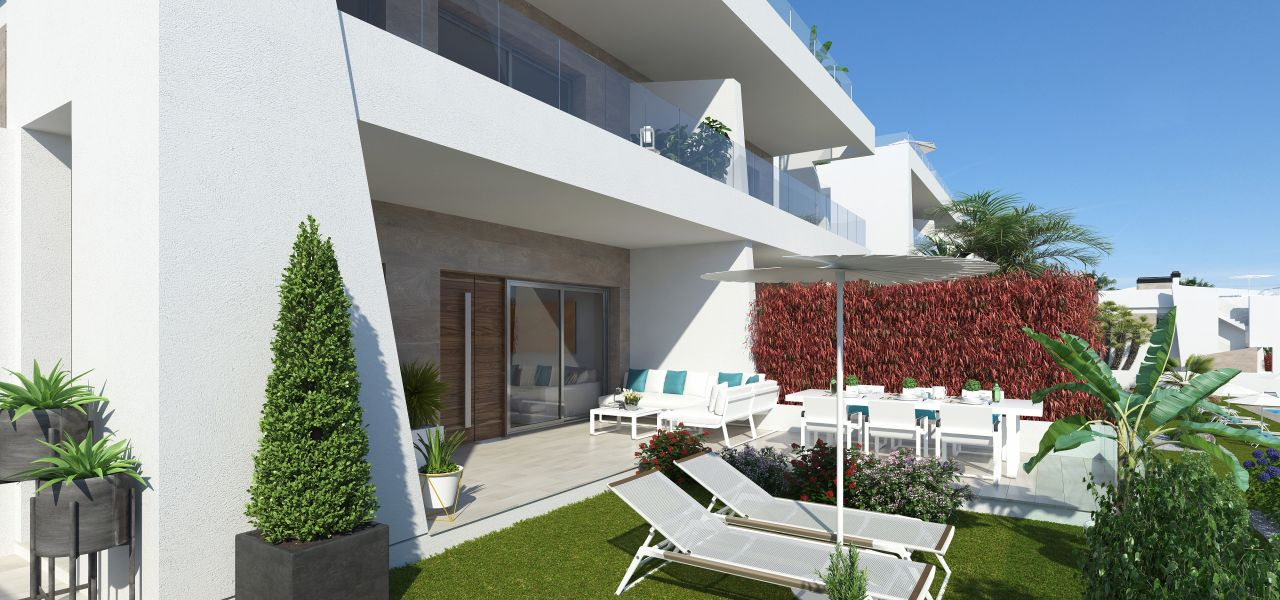 Bungalows with 2 rooms and 2 bathrooms, terrace or solarium, in urbanization with swimming pool. 3