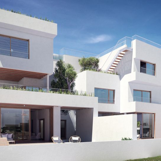Exclusive duplex townhouses with sea views and communal swimming pool in Majorca
