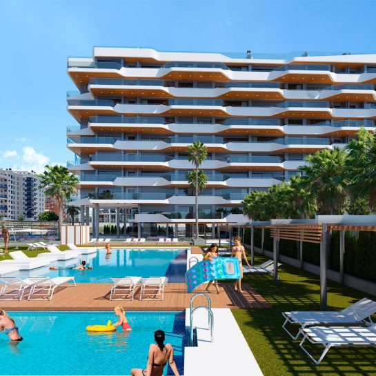 2, 3 and 4 bedroom apartments in a complex with pool, gym, Kid's Club, paddle tennis and more next to the sea in Playa de San Juan